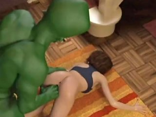 3d Green Alien Destroys Girl