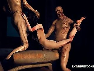 Foxy 3d Zombie Babe Getting Double Teamed